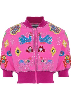 Moschino Woman Cropped Appliquéd Crepe Bomber Jacket Bright Pink