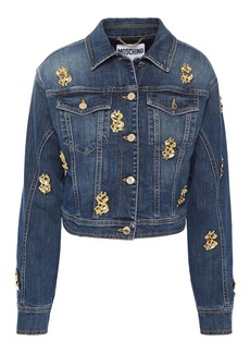 Moschino Woman Cropped Embellished Denim Jacket Mid Denim
