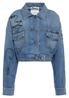 Moschino Woman Cropped Embroidered Denim Jacket Mid Denim
