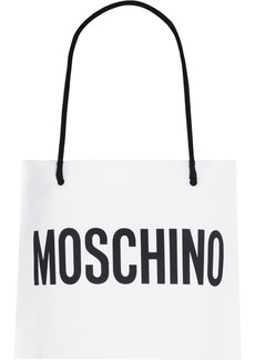 Moschino Woman Cropped Printed Cotton Halterneck Top White