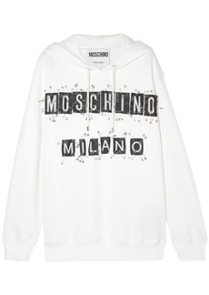 Moschino Woman Embellished Cotton-jersey Hoodie White