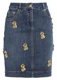 Moschino Woman Embellished Denim Mini Skirt Mid Denim