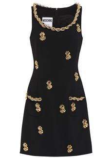 Moschino Woman Embellished Stretch-cady Mini Dress Black