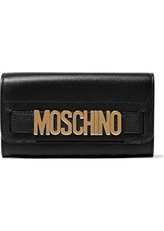Moschino Woman Embellished Textured-leather Continental Wallet Black