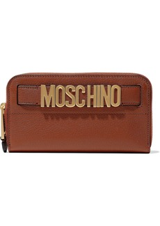 Moschino Woman Embellished Textured-leather Continental Wallet Crimson