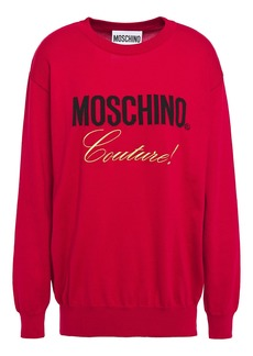 Moschino Woman Embroidered Cotton-jacquard Sweater Red