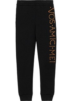Moschino Woman Embroidered French Terry Track Pants Black