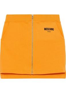 Moschino Woman Flocked French Cotton-terry Mini Skirt Saffron