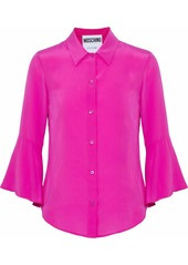 Moschino Woman Fluted Washed-silk Shirt Magenta