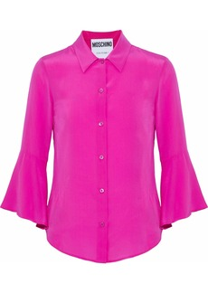 Moschino Woman Fluted Washed-silk Shirt Magenta
