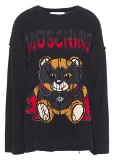 Moschino Woman Fringed Intarsia Cotton Sweater Black