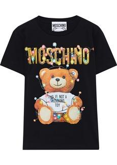 Moschino Woman Glittered Printed Cotton-jersey T-shirt Black