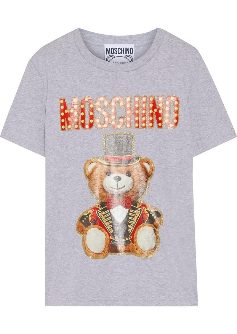 Moschino Woman Glittered Printed Cotton-jersey T-shirt Gray