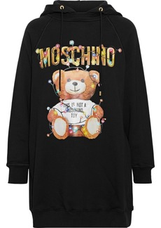 Moschino Woman Glittered Printed French Cotton-terry Hooded Mini Dress Black
