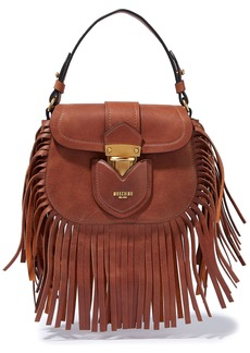 Moschino Woman Hidden Lock Fringed Brushed-leather Shoulder Bag Tan