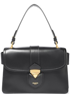 Moschino Woman Hidden Lock Leather Shoulder Bag Black
