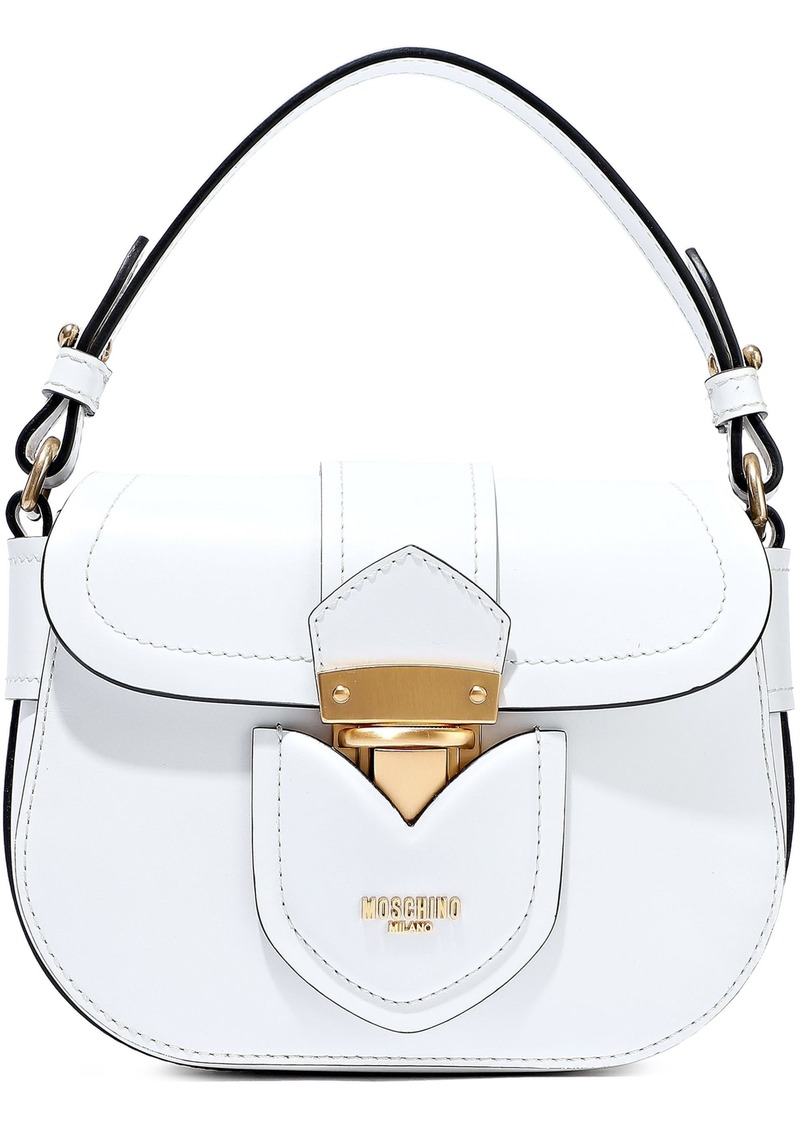 Moschino Woman Hidden Lock Leather Shoulder Bag White