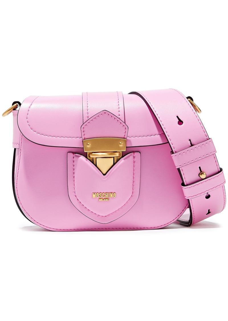 Moschino Woman Hidden Lock Leather Shoulder Bag Bubblegum