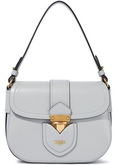 Moschino Woman Hidden Lock Leather Shoulder Bag Stone