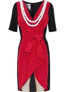 Moschino Woman Layered Bow-embellished Printed Silk Mini Dress Red