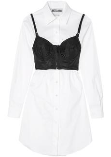 Moschino Woman Layered Satin And Cotton-blend Poplin Mini Shirt Dress White