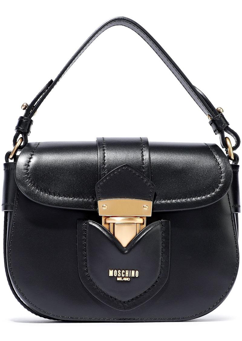 Moschino Woman Hidden Lock Leather Shoulder Bag Black