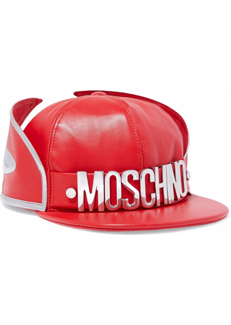 Moschino Woman Metallic-trimmed Embellished Leather Cap Red