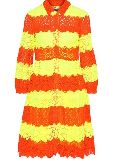 Moschino Woman Neon Striped Crochet And Guipure Lace Dress Bright Yellow