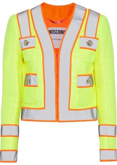 Moschino Woman Neon-trimmed Coated Cotton-blend Gauze Jacket Bright Yellow