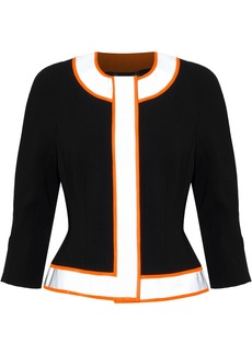 Moschino Woman Neon-trimmed Crepe Jacket Black