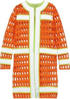Moschino Woman Neon-trimmed Cutout Cotton-blend Jacket Orange