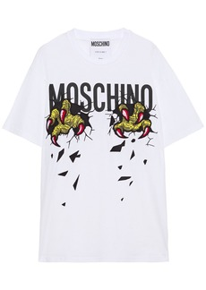 Moschino Woman Oversized Embroidered Printed Cotton-jersey T-shirt White