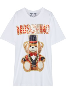 Moschino Woman Oversized Glittered Printed Cotton-jersey T-shirt White
