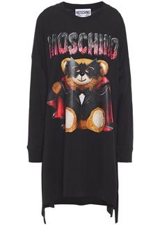 Moschino Woman Oversized Printed Cotton-jersey Mini Dress Black