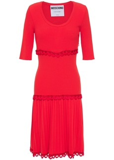 Moschino Woman Picot-trimmed Pleated Ribbed-knit Dress Red