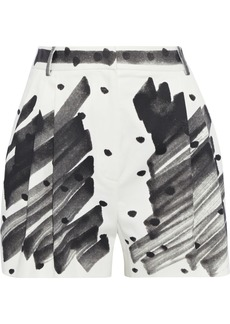 Moschino Woman Pleated Printed Cotton-blend Poplin Shorts Off-white