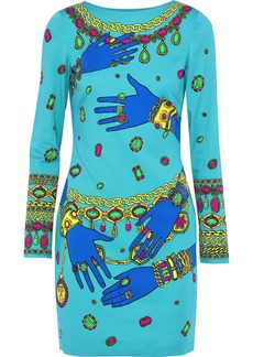 Moschino Woman Printed Cady Mini Dress Turquoise