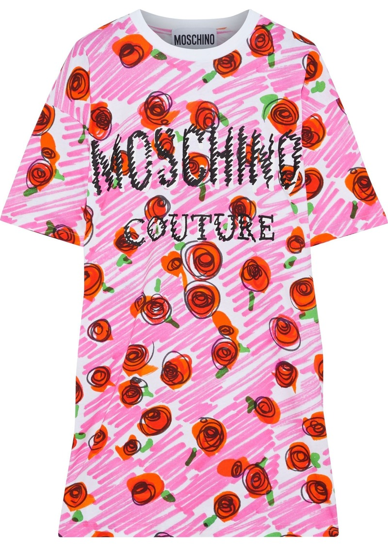 Moschino Woman Printed Cotton-jersey Mini Dress White