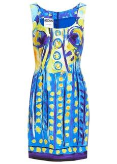Moschino Woman Printed Crepe Mini Dress Blue