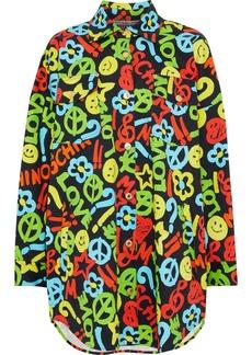 Moschino Woman Printed Denim Jacket Multicolor