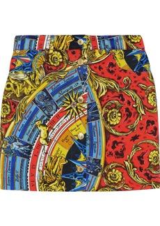 Moschino Woman Printed Denim Mini Skirt Multicolor