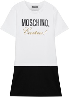 Moschino Woman Printed Embroidered French Cotton-terry Mini Dress White