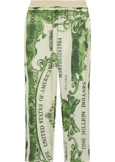 Moschino Woman Printed Fleece Track Pants Sage Green
