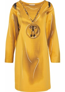 Moschino Woman Printed Jersey Mini Dress Yellow