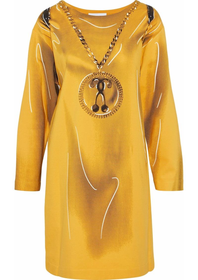 Moschino Woman Printed Jersey Mini Dress Yellow