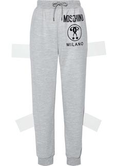 Moschino Woman Printed Mélange Jersey Track Pants Light Gray