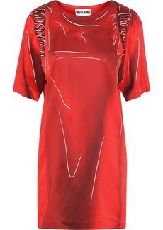 Moschino Woman Printed Stretch-crepe Mini Dress Red