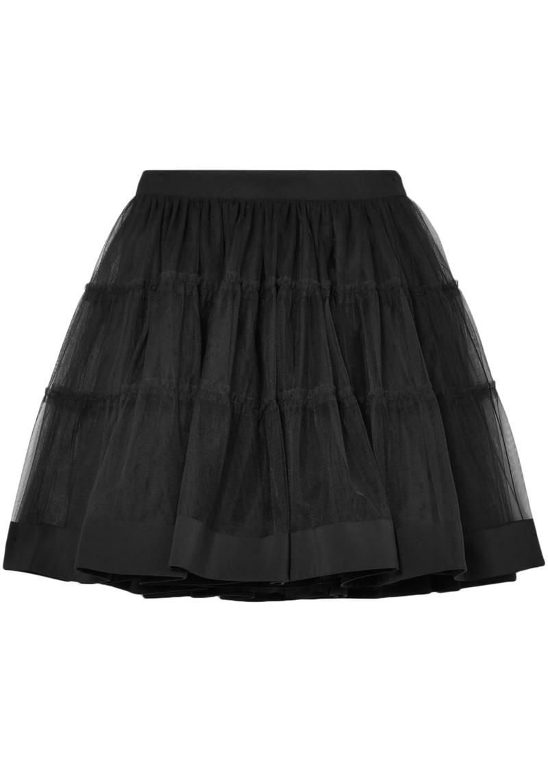 Moschino Woman Satin-trimmed Tulle Mini Skirt Black