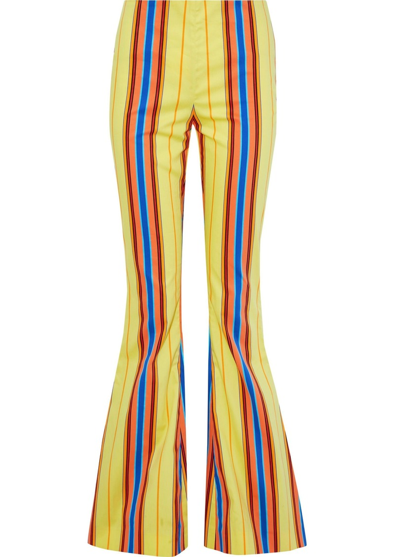 Moschino Woman Striped Cotton-blend Twill Flared Pants Multicolor
