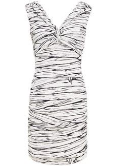 Moschino Woman Twist-front Printed Jersey Mini Dress Ivory